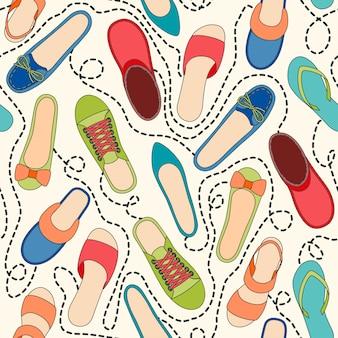 Patrón sin fisuras con zapatos de colores y líneas discontinuas