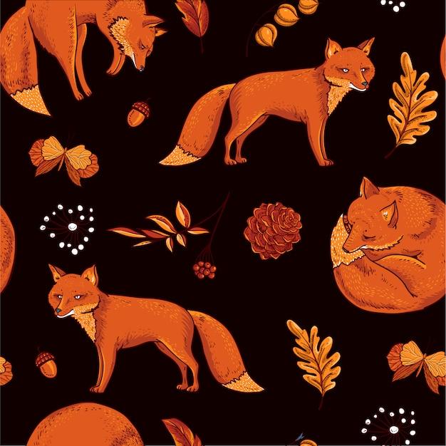 Patrón sin fisuras de zorro rojo, hojas de otoño naranja. textura dibujada mano vintage vector