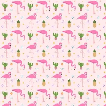 Patrón de flamenco rosado ilustrado