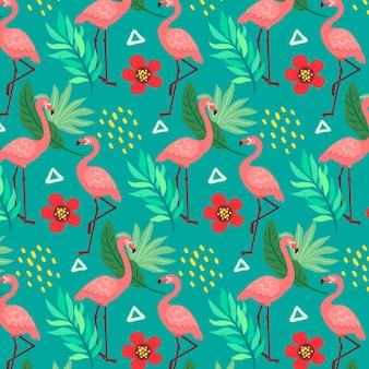 Patrón de flamencos con hojas y flores tropicales