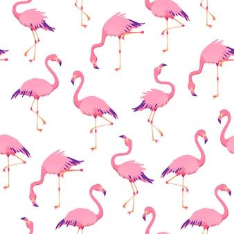 Patrón de flamencos rosados sin costura