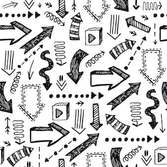 Patrón de flechas dibujadas a mano sin fisuras, fondo abstracto de doodle. en blanco y negro