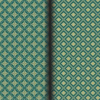Patrón de flor abstracta sin fisuras sobre un fondo verde