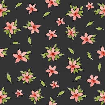 Patrón de flor acuarela transparente