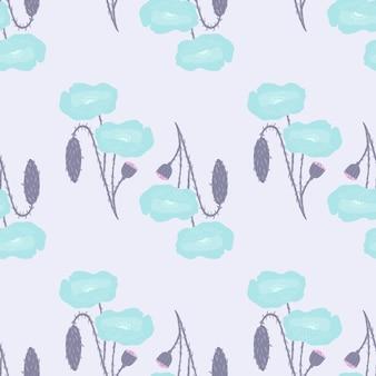 Patrón de flor de amapola transparente pastel.
