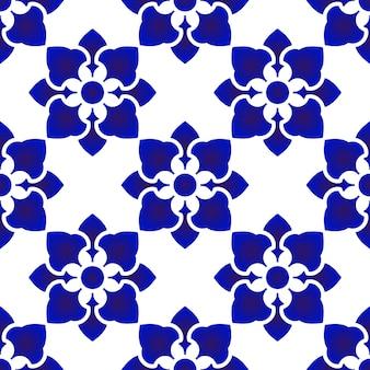 Patrón de flor azul y blanco