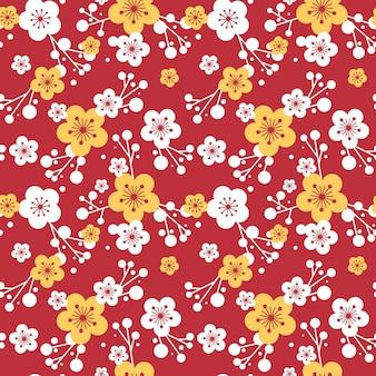 Patrón de flor de ciruelo