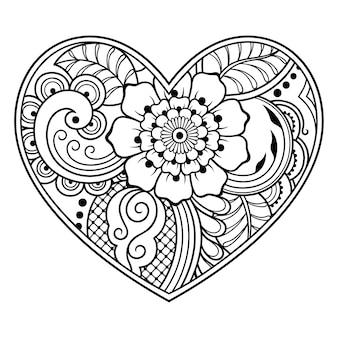 Patrón de flor mehndi en forma de corazón con loto para ilustración de henna