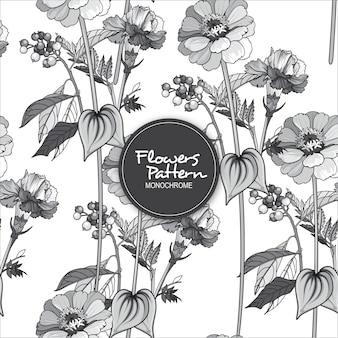 Patrón de flor monocromo transparente