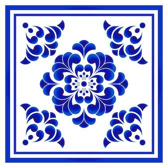 Patrón de flor de porcelana azul y blanca estilo chino y japonés, gran elemento floral cen