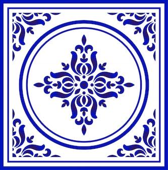 Patrón de flor de porcelana azul y blanca.