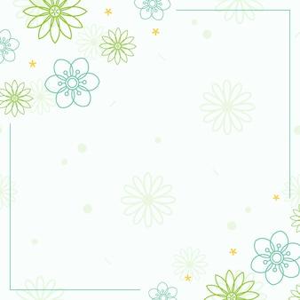 Patrón de flor verde con un vector de fondo blanco
