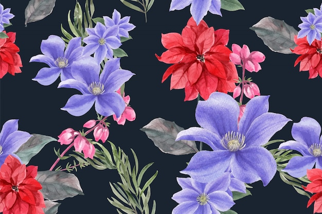 Patrón de floración de invierno con flor de pascua