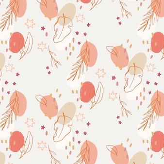 Patrón floral abstracto de diseño plano orgánico vector gratuito
