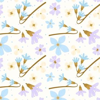 Patrón floral abstracto de diseño plano orgánico