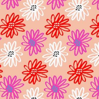 Patrón floral abstracto pintado a mano vector gratuito