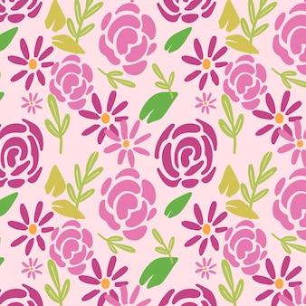 Patrón floral abstracto pintado a mano Vector Premium