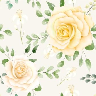 Patrón floral acuarela con limones