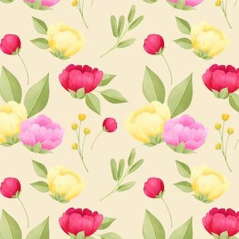 Patrón floral acuarela peonías