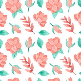 Patrón floral acuarela pintado a mano en tonos melocotón