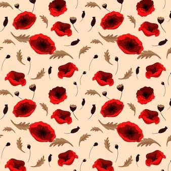 Patrón floral con amapolas