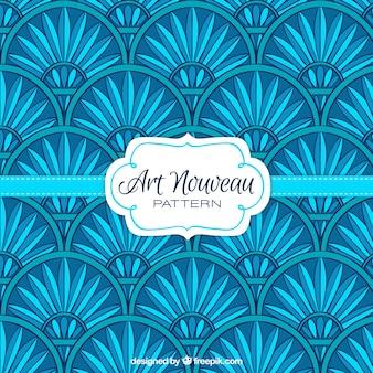 Patrón floral art nouveau en color azul
