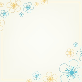 Patrón floral azul y amarillo.