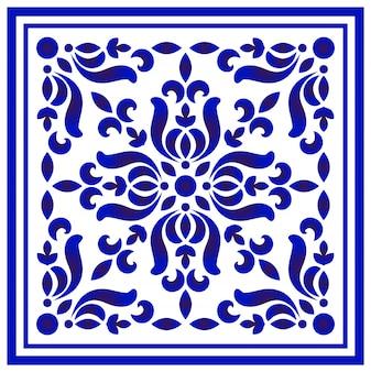 Patrón floral azul y blanco.