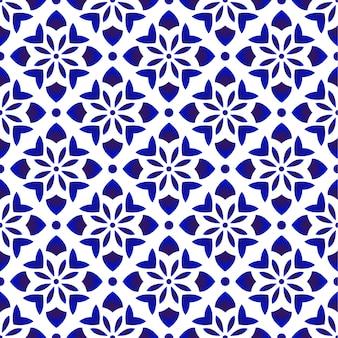 Patrón floral azul y blanco