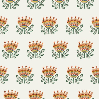 Patrón floral botánico sin fisuras de elementos en estilo étnico popular