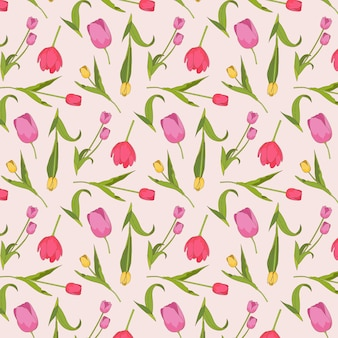 Patrón floral colorido tulipanes dibujados a mano sobre fondo rosa