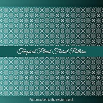 Patrón floral de cuadros tropicales con fondo verde. textura marroquí decorativa vintage.