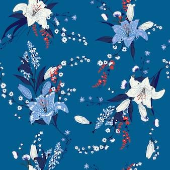 Patrón floral de verano