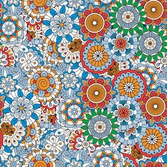 Patrón floral decorativo coloreado garabato.