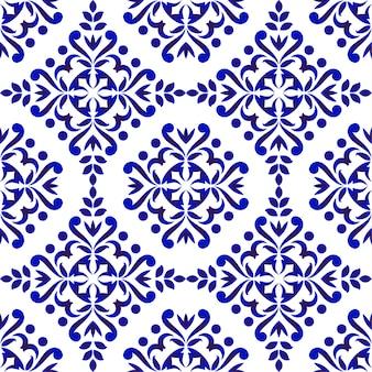 Patrón floral decorativo de damasco.