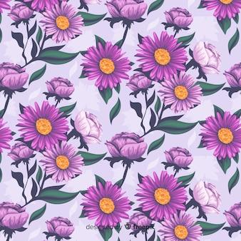 Patrón floral decorativo realista con margaritas