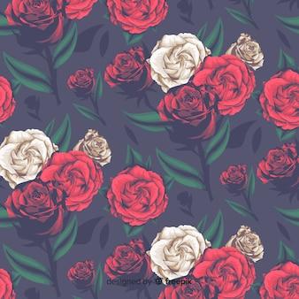 Patrón floral decorativo realista con rosas