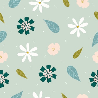 Patrón floral dibujado mano lindo inconsútil