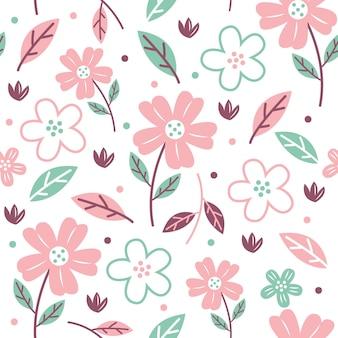 Patrón floral dibujado a mano con tonos melocotón ilustración vectorial