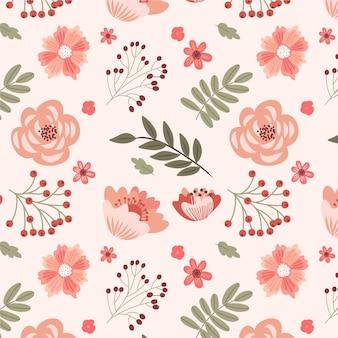 Patrón floral dibujado a mano en tonos melocotón