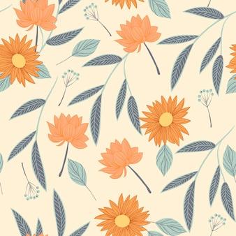 Patrón floral dibujado a mano en tonos melocotón vector gratuito