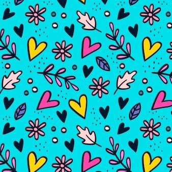 Patrón floral dibujado a mano