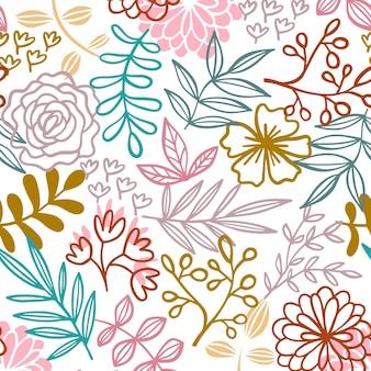 Patrón floral dibujado minimalista