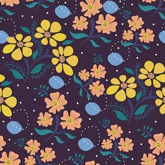 Patrón floral de dibujo escandinavo.