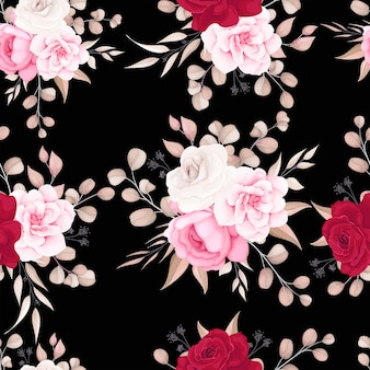 Patrón floral elegante con flores suaves