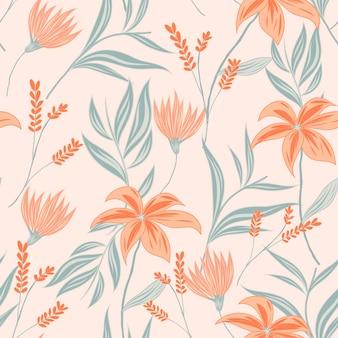Patrón floral estilo dibujado a mano en tonos melocotón