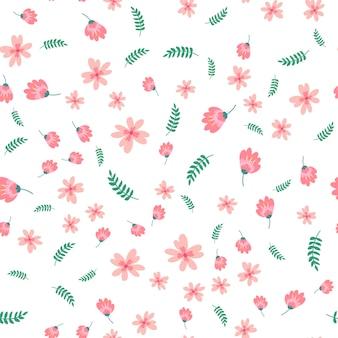 Patrón floral en estilo doodle con flores y hojas.