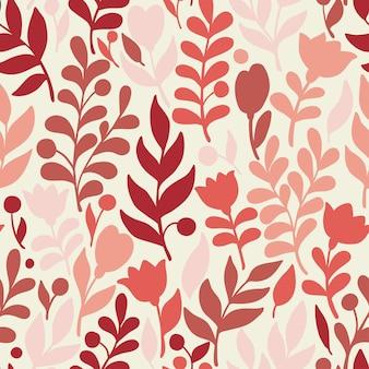 Patrón floral en estilo doodle con flores y hojas