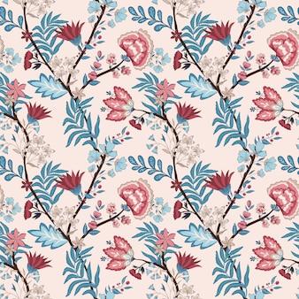 Patrón floral con estilo oriental.