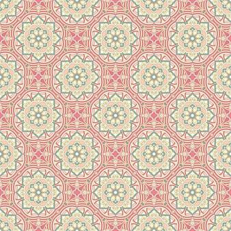 Patrón floral étnico sin fisuras con mandalas